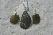 Unusual Olive Green Sea Glass Sterling Silver Necklace and Earrings Set