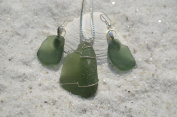 Winter Green Sea Glass Sterling Silver Necklace and Earrings Set