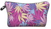 Hemp Weed Leaf Pink Cosmetic Makeup Pencil Bag Case Clutch Pouch Purse Zipper Handbag