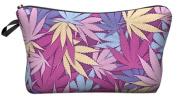 Hemp Weed Leaf Pink Cosmetic Makeup Pencil Bag Case Clutch Pouch Purse Zipper Handbag
