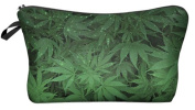 Marijuana Hemp Weed Leaf Cosmetic Makeup Pencil Bag Case Clutch Pouch Purse Zipper Handbag