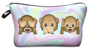 Holo Monkeys Cosmetic Makeup Pencil Bag Case Clutch Pouch Purse Zipper Handbag