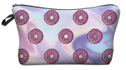 Holo Donut Purple Cosmetic Makeup Pencil Bag Case Clutch Pouch Purse Zipper Handbag