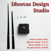 Dhorcas (#20) 0.6cm Threaded Motor and Straight Black 25cm Hands, Quartz Clock Movement Kit and Replacement Motor