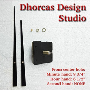 Dhorcas (#20) 1.9cm Threaded Motor and Straight Black 25cm Hands, Quartz Clock Movement Kit and Replacement Motor