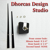 Dhorcas (#20) 1.9cm Threaded Motor and Straight Black 25cm Hands with hanger, Quartz Clock Movement Kit and Replacement Motor