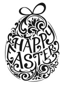 Gourmet Rubber Stamps Cling Happy Easter Egg Stamps, 7cm x 12cm