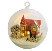 Mini Hanging Wooden House Model, DIY Glass Ball Doll House Model,miniature Dollhouse Toy Birthday Christmas Gift Angel Town