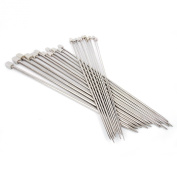 Alucky 11 Pairs(22 PCS) of 36cm Stainless Steel Knitting Needles Single Pointed Crochet Hooks with Different Size of 2.0mm /2.5mm /3.0mm /3.5mm /4.0mm /4.5mm /5.0mm /5.5mm /6.0mm /7.0mm /8.0mm Sets