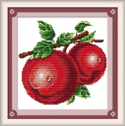 AngelGift Needlecrafts Stamped Counted Cross Stitch Set, Fruit - Fresh Tasty Apple