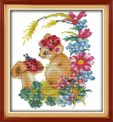 AngelGift Needlecrafts Stamped Counted Cross Stitch Set, Animal - Squirrel & Beetle