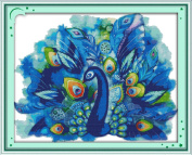 AngelGift Needlecrafts Stamped Counted Cross Stitch Set, Animal - Blue Peacock