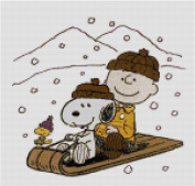 Peanuts Snoopy & Charlie Brown Sledding Counted Cross Stitch Pattern
