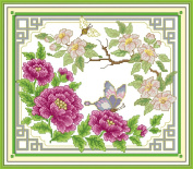 Sunny World Counted Cross Stitch 15- Inch By 17- Inch, Peony Fluttering Butterfly