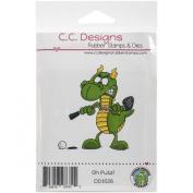C.C. Designs Doodle Dragon Oh Putz Cling Stamp, 7cm x 7.6cm