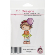 C.C. Designs Swiss Pixie Cling Rose with Balloon Stamp, 7.6cm x 4.4cm