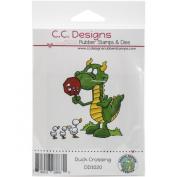 C.C. Designs Doodle Dragon Duck Crossing Cling Stamp, 7cm x 7.6cm