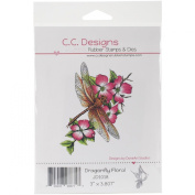 C.C. Designs DoveArt Dragonfly Floral Cling Stamp, 7.6cm x 10cm