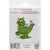 C.C. Designs Doodle Dragon Ducky Fun Cling Stamp, 6.4cm x 7.6cm