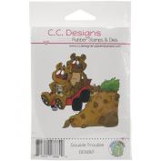 C.C. Designs Doodle Dragon Double Trouble Cling Stamp, 8.3cm x 7.6cm