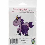 C.C. Designs Doodle Dragon Pegacorn Cling Stamp, 6.4cm x 6.4cm