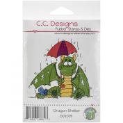 C.C. Designs Doodle Dragon Shelter Cling Stamp, 7.6cm x 8.3cm