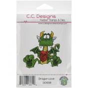 C.C. Designs Doodle Dragon Love Cling Stamp, 7.6cm x 7.6cm