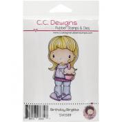 C.C. Designs Swiss Pixie Cling Birthday Birgitta Stamp, 7.6cm x 3.8cm