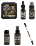 Tim Holtz Ranger Distress - August 2015 Colour - Ink Pad, Stain, Paint, Spray Stain, Re-inker and Marker Bundle - Ground Espresso
