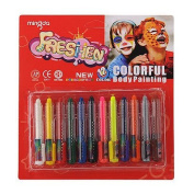 1 X Pack Face & Body Painting Crayons Set 12 Bright Colours Ezy Grip Casings