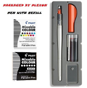 Pilot Parallel Pen 2-Colour Calligraphy Pen Set with Black and Assorted Colours Ink Refills, 1.5 mm Nib