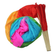 Happy Will 1.8M Colourful Hand Made Bamboo Belly Dance Dancing Silk Long Fans Veils with Stylus