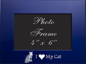 4x6 Brushed Metal Picture Frame-I love my Cat-Blue