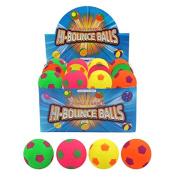 Henbrandt 24 X Assorted Footballs Hard Sponge Rubber Hi-Bounce Balls - Wholesale Box