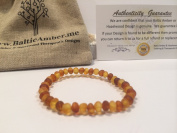 Baltic Amber Teething Bracelet 5.5 - 15cm Stretch for Babies - Unpolished Raw Lemon Cognac Mixed Baby, Infant, and Toddlers drooling, fever, fussiness. Organic Certified