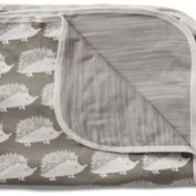 Milkbarn Organic Cotton Stroller Blanket - Grey Hedgehog