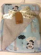 Chick Pea Baby Turquoise Clouds Soft Mink Printed Blanket with Sherpa Backing