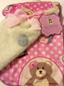 Baby Blanket Pink Bear Girl Reversible to Sherpa