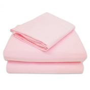 aBaby Crib/Toddler Flat and Fitted Sheet, Pink