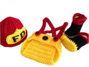 Pinbo® Baby Boys Girls Photography Prop Crochet FD Fireman Hat Nappy Boots