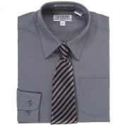 Dark Grey Button Up Dress Shirt Grey Striped Tie Set Toddler Boys 2T