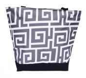 Best New Design Greek Key Grey Beach Boat Utility Shopping Book Tote Bag with Zipper Women Teens Men Work by TravelNut