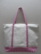 50cm Cotton Canvas Bag Duty Deluxe Tote Bag - Purple White