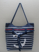 Anchor & Stripes Tote Bag with Rope Handles - Blue