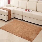 MBIGM Home Decorator Modern Shag Area Rugs Super Soft Solid Living Room Carpet Bedroom Washable Rug and Carpets, 0.6m X 1.2m [80 * 120cm] Khaki
