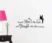 Second star to the right and straight on till morning cute fairy playroom sticker nursery vinyl saying lettering wall art inspirational sign wall quote decor