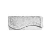 TdZ Waved Rhinestone Classic Lace on Satin Party Clutch 24cm w/ Strap