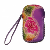 CTM® Womens Leather Floral Print Card Case Coin Pouch