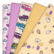 5 x Super Soft High Quality Baby Flannel Muslin Squares Large 80x70cm 100% Brushed Cotton Baby Flannelette I LOVE PURPLE Set. New Modern Design Baby Face Cloths/Nappies/Wraps/ Sheets/Blankets/Covers/Changing Mats/Bibs.