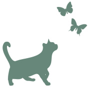 Classic cat with butterflies wall sticker by Stickerscape - Available in a choice of colours - Removable - Wall decal - Wall graphic - Wall art